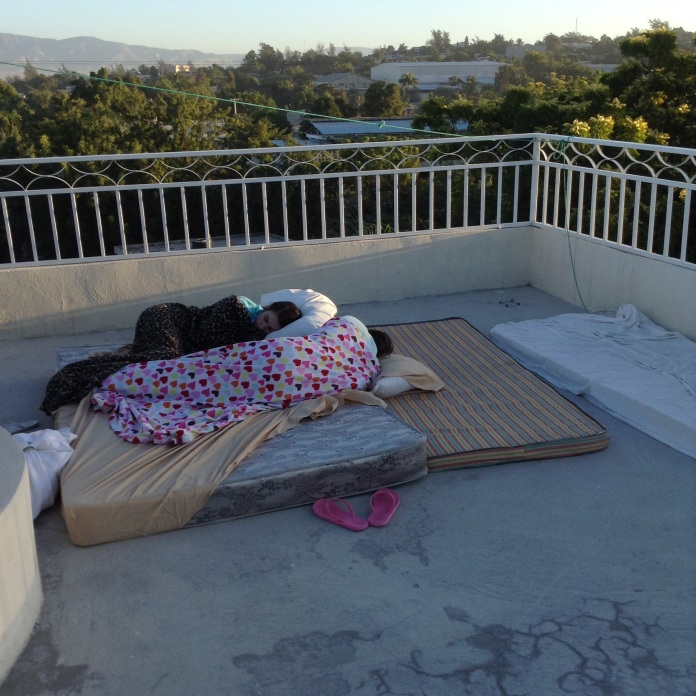 Waking up on the roof.