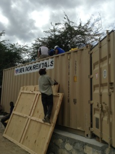 Preparing the container.