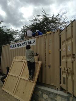 Preparing the container.