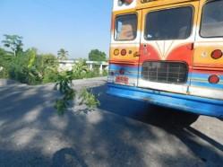 Haitian signal for broken down bus.