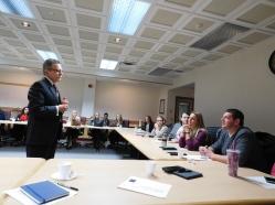 Dr. Battisti talks with the students.